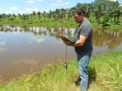 Hydrocarbon Detector Measures Rural River After Oil Spill Incident Involving a Diesel Truck