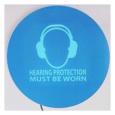 Weatherproof noise-activated hearing protection signs